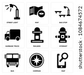 set of 9 simple editable icons... | Shutterstock .eps vector #1084674572