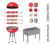bbq grill meat  barbecue set of ... | Shutterstock .eps vector #1084674842