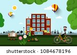 people in city with building on ...   Shutterstock .eps vector #1084678196