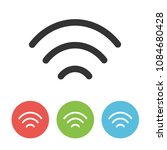 wifi vector thin line one flat...