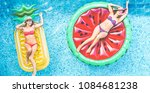 happy girls floating with... | Shutterstock . vector #1084681238