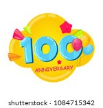 cute cartoon  template logo 100 ... | Shutterstock .eps vector #1084715342