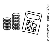 calculator and stack of coins... | Shutterstock .eps vector #1084725728