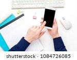 white desk  male hands  guy... | Shutterstock . vector #1084726085