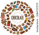 chocolate vector doodle... | Shutterstock .eps vector #1084737575