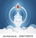 project startup. rocket ship... | Shutterstock .eps vector #1084738955