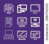 set of 9 monitor outline icons... | Shutterstock . vector #1084742192