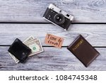 time to travel essentials. flat ... | Shutterstock . vector #1084745348