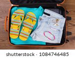 summer female clothes in... | Shutterstock . vector #1084746485