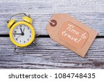 yellow clock and label. time to ... | Shutterstock . vector #1084748435