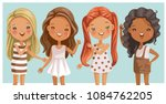 cute little girls long hair.... | Shutterstock .eps vector #1084762205