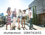 multi ethnic group of friends... | Shutterstock . vector #1084762652