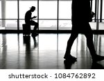 man in a hat with a cellphone...   Shutterstock . vector #1084762892