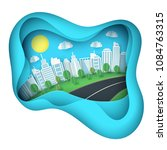 paper art background with city... | Shutterstock .eps vector #1084763315