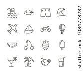 summer set icon vector. line...