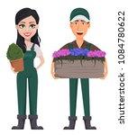 gardeners  man and woman ... | Shutterstock .eps vector #1084780622