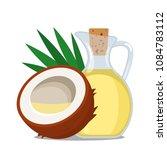 coconut oil in a glass bottle... | Shutterstock .eps vector #1084783112