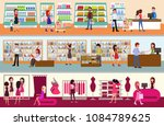 people shopping at the mall.... | Shutterstock .eps vector #1084789625