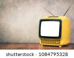 retro old outdated yellow tv...   Shutterstock . vector #1084795328