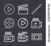 set of 9 movie outline icons... | Shutterstock .eps vector #1084804646