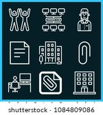 set of 9 office outline icons... | Shutterstock .eps vector #1084809086