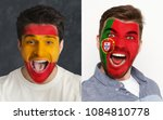 emotional soccer fans with... | Shutterstock . vector #1084810778