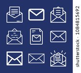 set of 9 envelope outline icons ... | Shutterstock .eps vector #1084815692