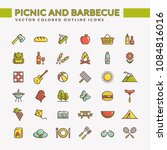 picnic and barbecue web icons.... | Shutterstock .eps vector #1084816016