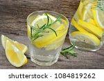 lemon and rosemary detox water... | Shutterstock . vector #1084819262