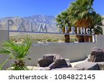palm springs sign with desert... | Shutterstock . vector #1084822145