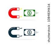 magnet attracting money cash.... | Shutterstock .eps vector #1084834616