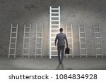 career progression concept with ... | Shutterstock . vector #1084834928