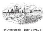 rural landscape field wheat in... | Shutterstock .eps vector #1084849676