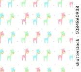 seamless pattern with giraffe   Shutterstock .eps vector #1084860938