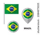 brazil flag and map pointer... | Shutterstock .eps vector #1084875035