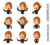vector cartoon set of woman... | Shutterstock .eps vector #1084890335