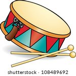 toy drum and drumsticks. ... | Shutterstock .eps vector #108489692