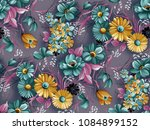watercolor flower pattern with... | Shutterstock . vector #1084899152