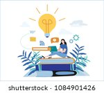 knowledge online. illustration... | Shutterstock .eps vector #1084901426