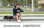 woman waiting for her friends... | Shutterstock . vector #1084909292
