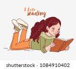 cute little girl reading a book | Shutterstock .eps vector #1084910402