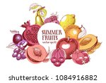fruits hand drawn vector frame. ... | Shutterstock .eps vector #1084916882