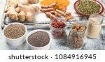 various superfoods. healthy... | Shutterstock . vector #1084916945