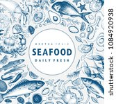 seafood vector frame... | Shutterstock .eps vector #1084920938