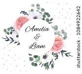 floral wedding invite card with ... | Shutterstock .eps vector #1084922642