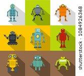 robot icon set. flat style set... | Shutterstock . vector #1084926368