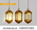 gold vintage luminous lanterns. ... | Shutterstock .eps vector #1084927682