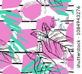Tropical, stripe, animal motif. Seamless pattern line and crackle textures. Modern summer leaf on abstract shape brush. Contrast vector background. Watercolor blobs and daubs, ink and stains.