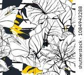 tropical  modern stripes motif. ... | Shutterstock .eps vector #1084943288