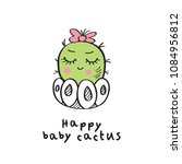 hand drawn cute baby cactus.... | Shutterstock .eps vector #1084956812